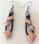 Cork Earrings Brown Coral beads
