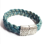 Cork Bracelet Blue with diamonte clasp