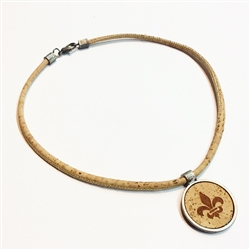 Cork necklace With Fleur de Lis