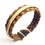 Cork Bracelet Brown Braid with Natural