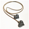 Cork Necklace/Belt 2 Hearts Natural