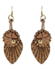 Cork EarringsGoldFeatherFlower