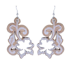 Cork WhiteLace Flower Earring