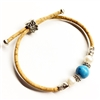Cork Bracelet Lite Blue Bead 2 Pearls