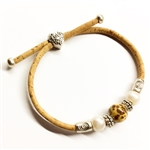 Cork Bracelet Speckled 2 Pearls