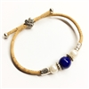 Cork  Bracelet  Dark BlueBead 2 pearls Adjustable