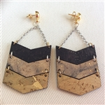 Cork Earrings Chevrons with chain