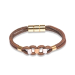 Cork bracelet brown various metals