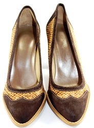 Cork Ladies Heels with genuine leather and gold pattern cork