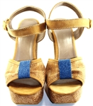 Cork Ladies Wedge shoes with Blue detail