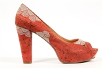 Cork Peep Toe Seashell - coral