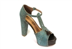 Blue cork heel shoes
