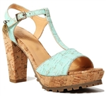 High Heel Cork Sandals with Blue Mint Cork Straps