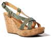 Wedges Natural Cork with Blue/Silver Fishcale Pattern straps