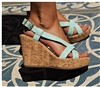 Wedges Natural Cork Mint Blue Straps