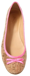 Ballerinas Natural Cork Neon Pink trim