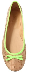 Ballerina Flats Natural Cork Neon Green trim
