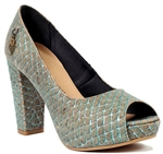 Peep Toe High Heels Silver Blue Fishscale Pattern