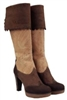 Cork High Heel Boots Brown/Natural