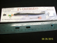 "JJ's Crawlers 4"" Black Rigged Worm"
