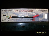"JJ's Crawlers 4"" Black Fire Tail Rigged Worm"