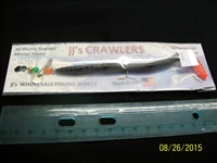 "JJ's Crawlers 6"" Black Fire Tail Rigged Worm"