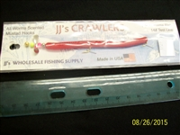 "JJ's Crawlers 4"" Red Rigged Worm"