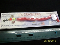 "JJ's Crawlers 6"" Red Rigged Worm"