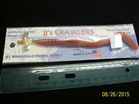 "JJ's Crawlers 6"" Two Tone Natural Rigged Worm"