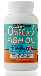 Omega 3 Fish Oil Pills - ULTRA POTENCY FORMULA - 1000 mg EPA 400mg,DHA 200mg Per Serving - 60 Softgels