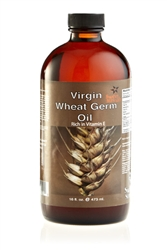 Natural Wheat Germ Oil Virgin 16 oz. GLASS