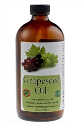 Pure Cold Pressed Grape Seed Oil - 16 oz (Glass)