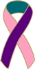 Thyroid Cancer Awareness Ribbon Pin - Pink/Teal/Purple