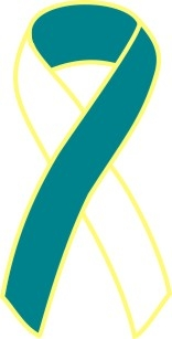 "1"" Cancer Awareness Ribbon Pins - Teal/White"