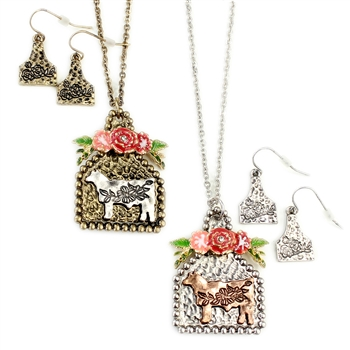 Cow Tag with Enamel Flowers Necklace Set - Gold or Silver - Package (3)