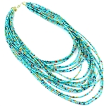 20 Strand Seed Bead Necklace - Silver, Turquoise or Natural - Package (3)