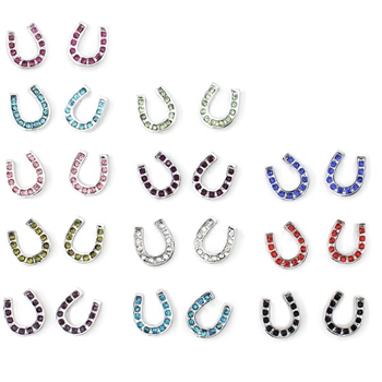 J051 - Rhinestone Horseshoe Earrings - Package (12)
