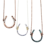 J052 - Wire Wrapped Horseshoe Necklace - Silver, Copper or Patina - Package (3)