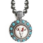 J301S - Steer Skull Necklace - Silver - Package (3)