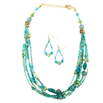 Multi Strand Turquoise and Gold Bead Set - Package (3)
