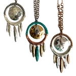 Metal Dreamcatcher Necklace Set - Gold, Three-Tone or Silver - Package (3)