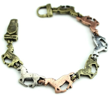 Three Tone Running Horse Bracelet - Package (3)