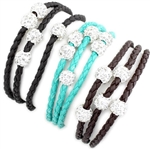 Bling and Braided Leatherette Wrap - Brown, Turquoise & Black