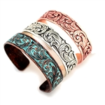 Thin Tooled Cuff Bracelet - Copper, Silver or Patina - Package (3)