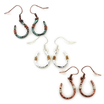 Wire Wrapped Horseshoe Earrings - Silver, Patina or Copper - Pacakge (3)