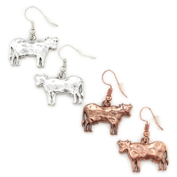 """Bessie"" Cow Earring - Copper or Silver - Package (3)"