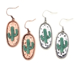Cactus Token Earrings - Silver  or Copper- Package (3)