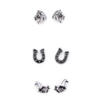 Set of Three Horse Earrings - Copper, Patina, Gold or Silver - Package (3)