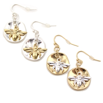 Honey Bee Earrings - Silver or Gold Hooks - Package (3)