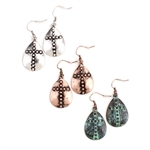 Hammered Cross Earrings - Copper, Patina or Silver - Package (3)